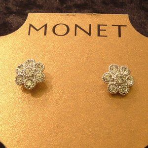 Monet Silver Tone Crystal Stud Pierced Earrings